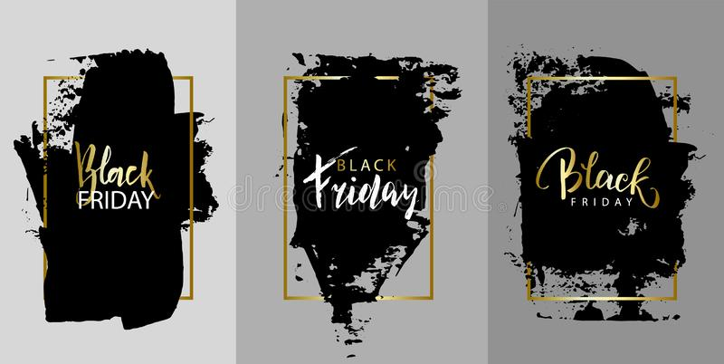 Schwärzen Sie Freitag Vector schwarze Farbe, schwärzen Sie Bürstenanschlag, Bürste, Linie oder Beschaffenheit mit Tinte Künstleri stock abbildung
