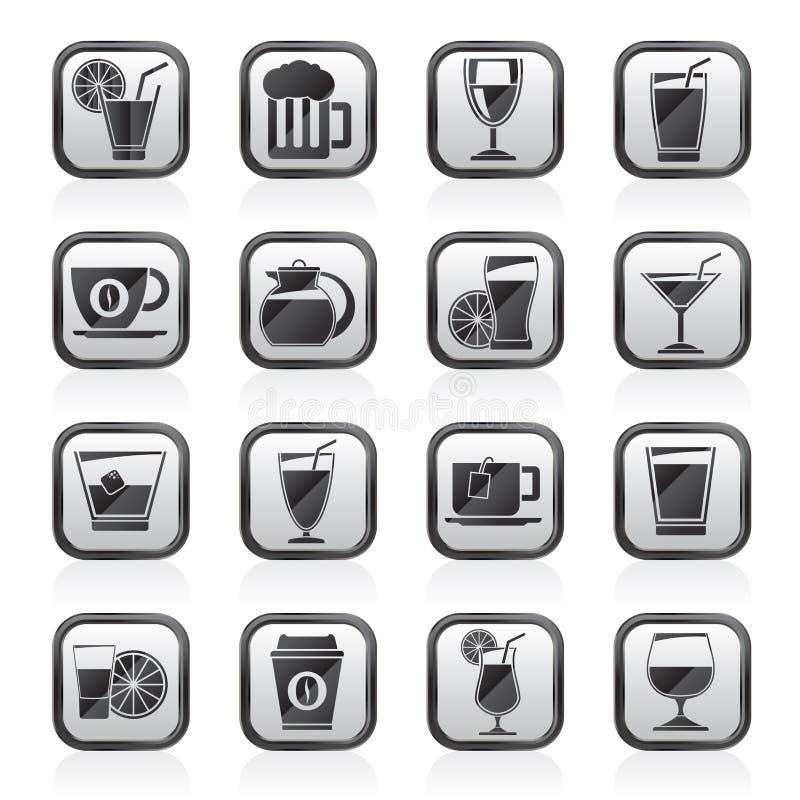 Schwärzen Sie Getränke eines Weiß und Getränkeikonen lizenzfreie abbildung