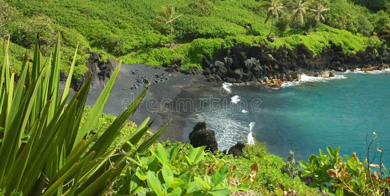 Schwärzen Sie Sand-Strand, Maui lizenzfreies stockfoto