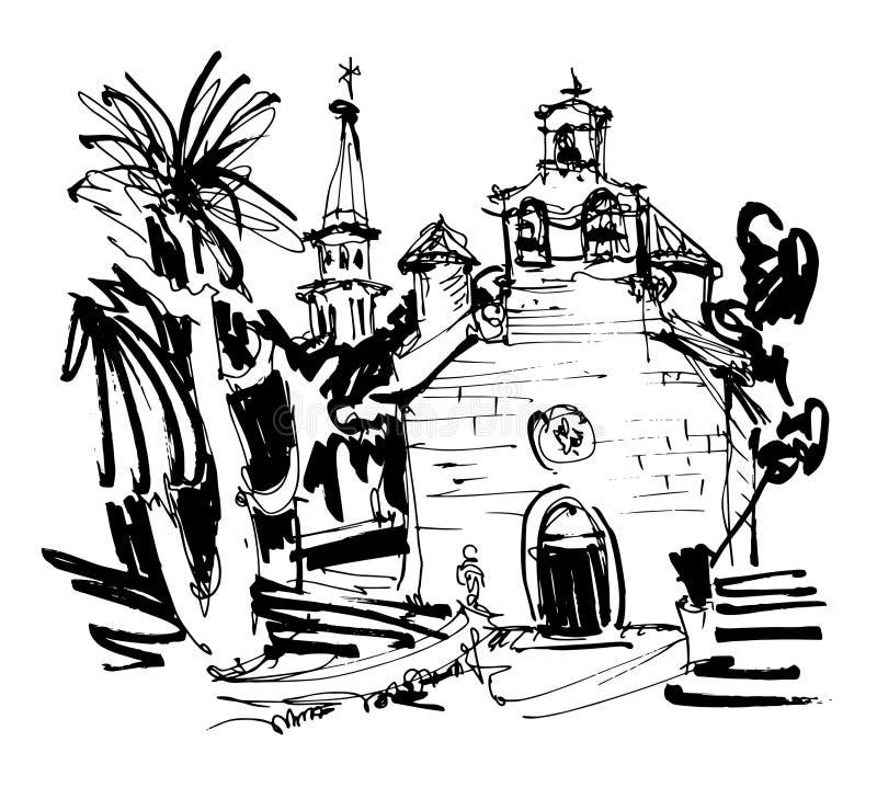 Schwärzen Sie Zeichnung der historischen Kirche herein mit Palme in Budva Montenegro mit Tinte lizenzfreie abbildung