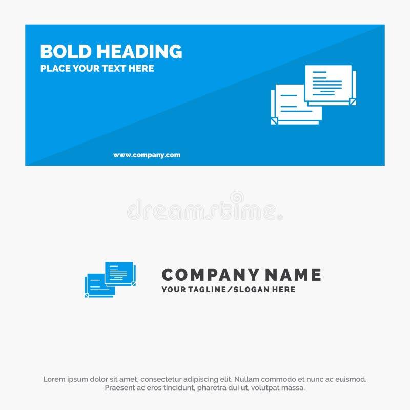 Schwätzchen, Blase, Mitteilung, Popup- feste Ikonen-Website-Fahne und Geschäft Logo Template stock abbildung