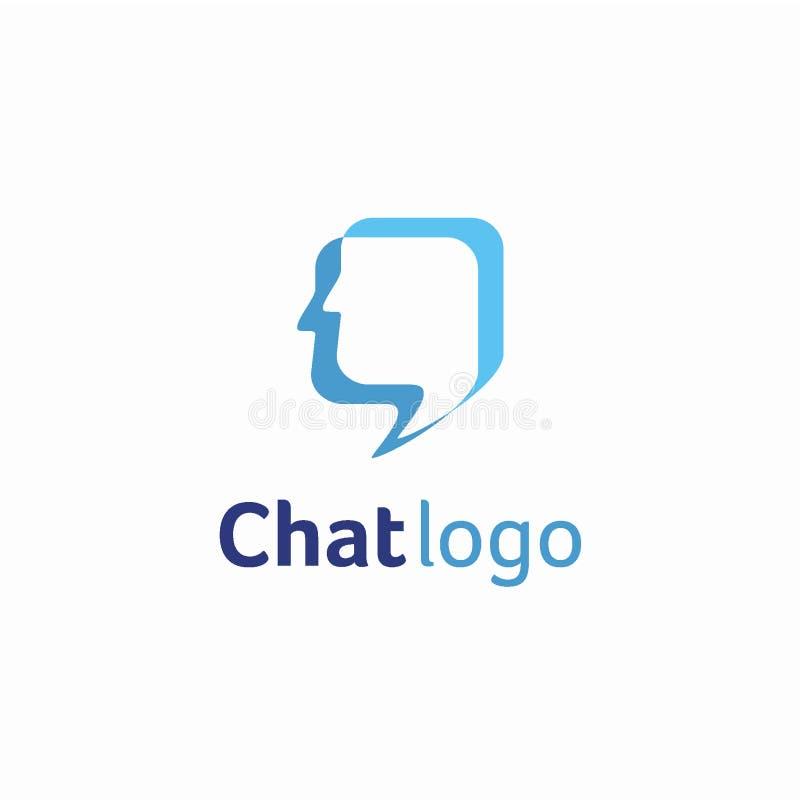 Schwätzchenlogo-Konzept des Entwurfes, stellen menschliches gegenüber oder konsultieren Logoschablone lizenzfreie abbildung