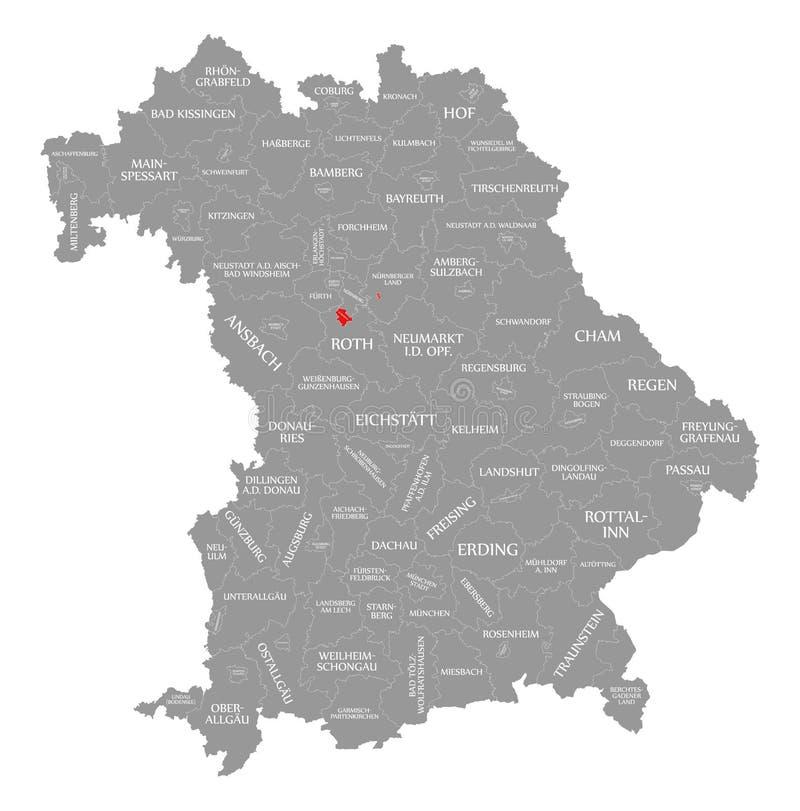 Schwabach miasta czerwień podkreślająca w mapie Bavaria Niemcy ilustracji