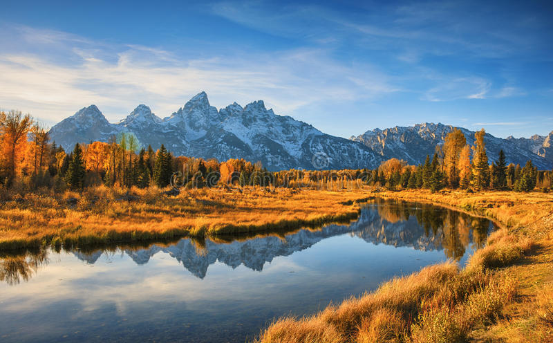 Schwabacher`s Landing, Grand Teton National Park. Sunrise on Schwabacher`s Landing, Grand Teton National Park in autumn in Wyoming USA stock photos