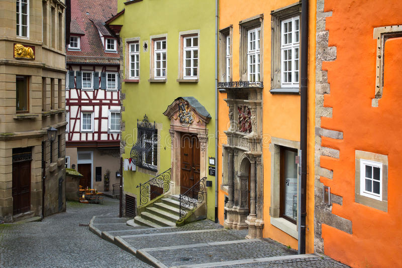 Schwabisch Hall, Germany. May 02, 2013: Painted houses in old town square is famous landmark of the town stock photography