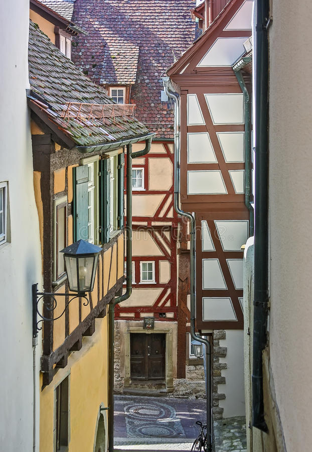 Schwabisch Hall, Germany. Street on old city center. Schwabisch Hall is historical town in the German state of Baden-Wurttemberg and located in the valley of the royalty free stock photo