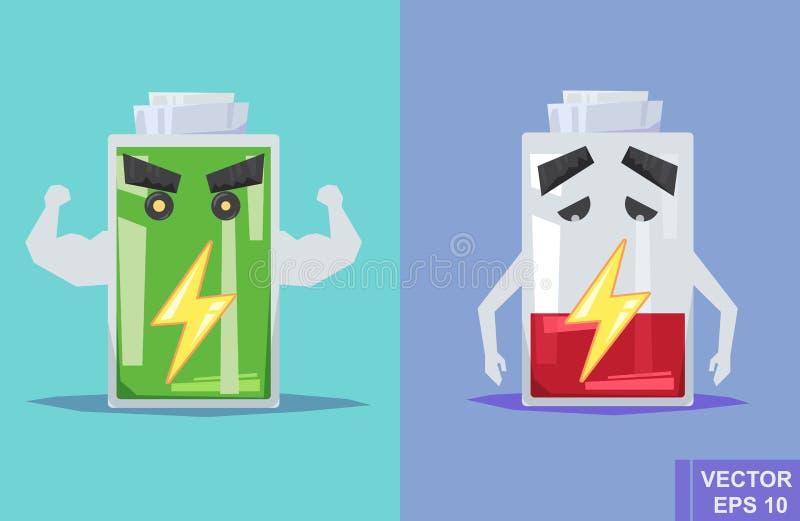 Schwache Batterie und voll Flache Illustration des Vektors Karikaturbild lizenzfreie abbildung