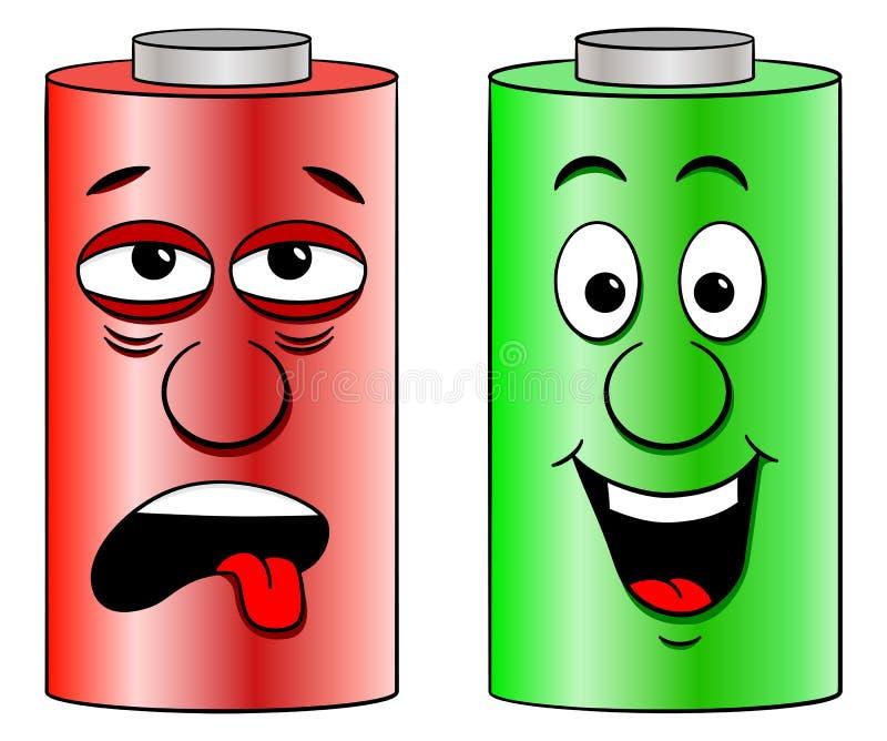 Schwache Batterie und volle Batterie lizenzfreie abbildung