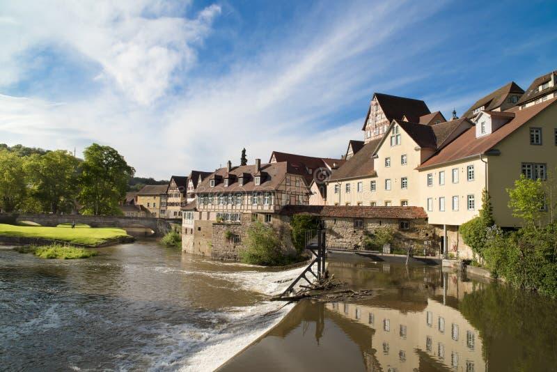 Schwabisch Hall, Germany. Medieval City Schwaebisch Hall, Germany, on Kocher River stock photos