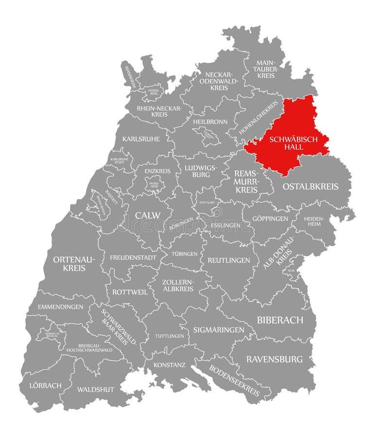 Schwaebisch o Condado de Hall vermelho destacou no mapa de Baden Wuerttemberg Germany ilustração royalty free