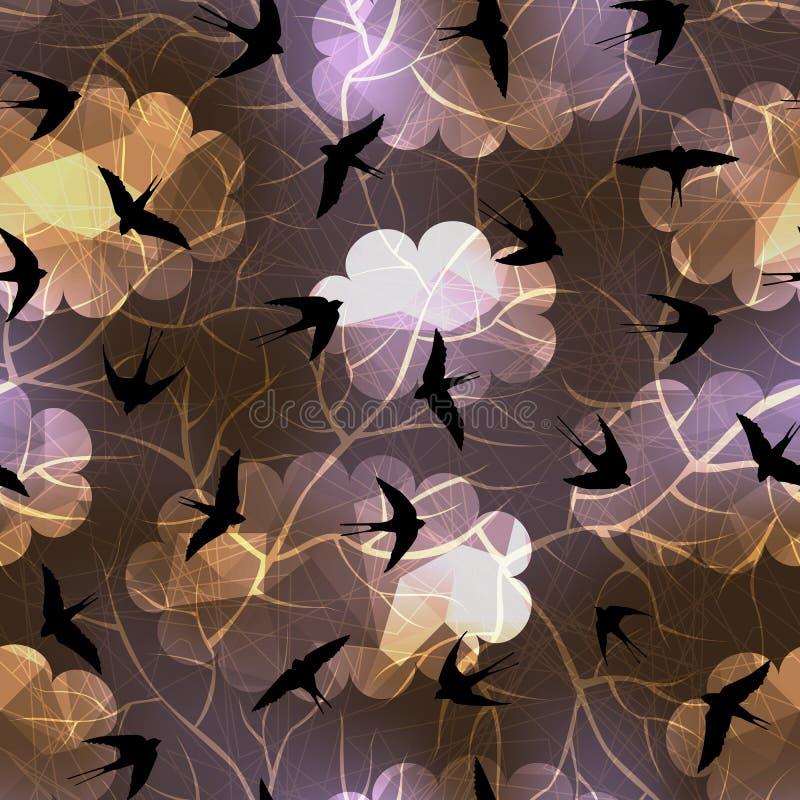 Schwalben auf Hintergrund des nächtlichen Himmels stock abbildung