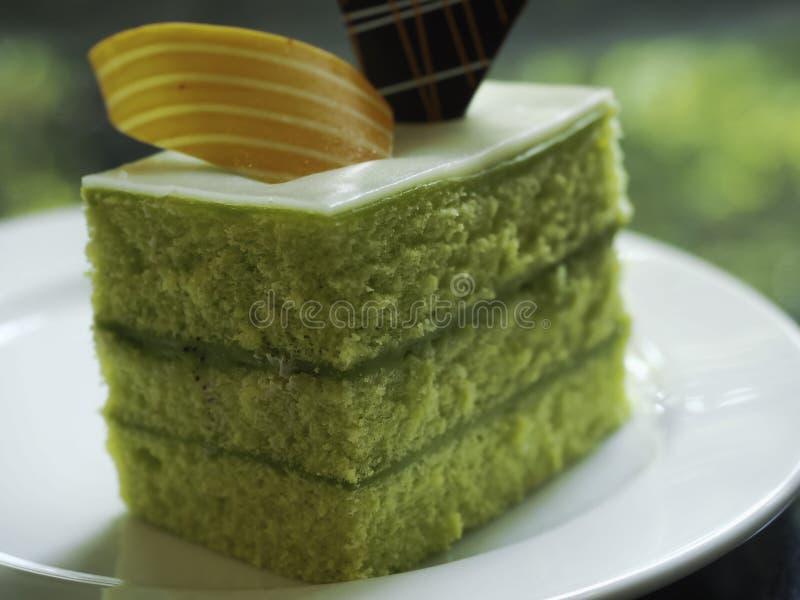 Schwamm-Kuchen überlagert in Rich Pandan Kaya stockbilder