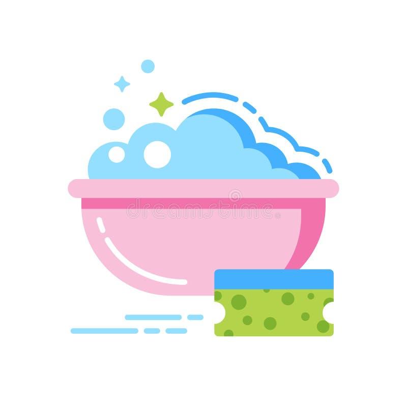 Schwamm und Schüssel der flachen Ikone des Wassers Farb Lokalisierte flache Schablone lizenzfreie abbildung