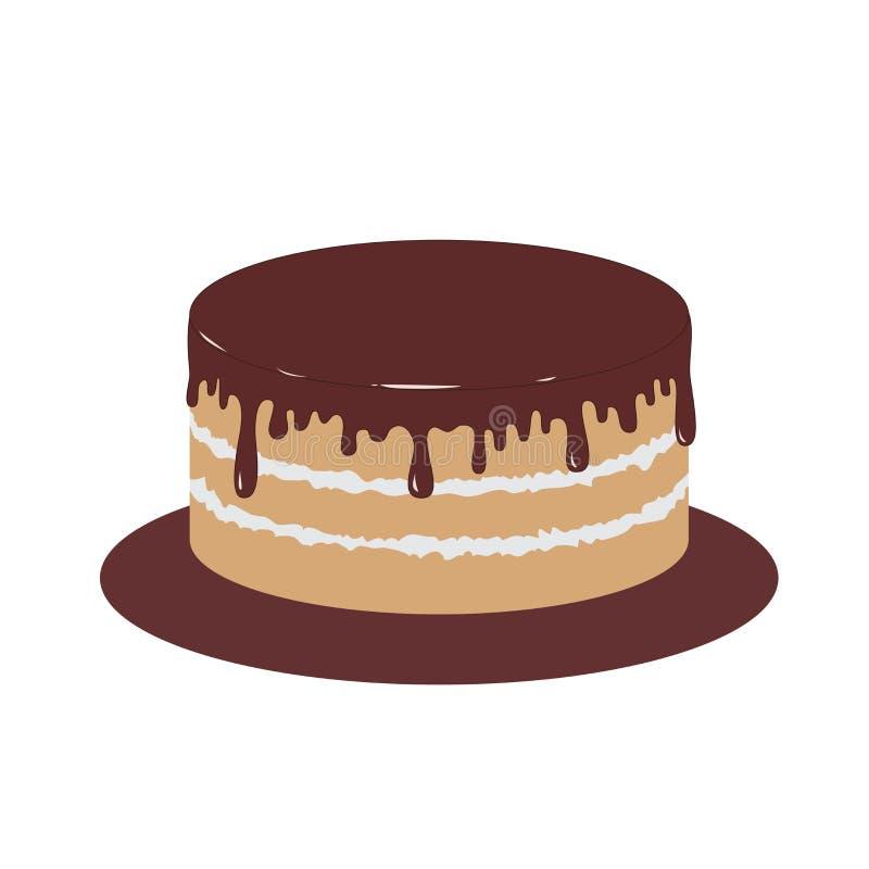 Schwammkuchen mit Schokoladenzuckerglasur Auch im corel abgehobenen Betrag lizenzfreies stockfoto