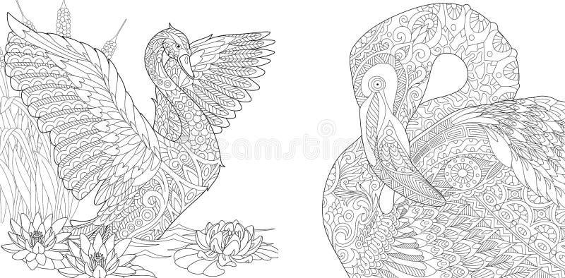 Schwan- und Flamingovögel Zentangle lizenzfreie abbildung