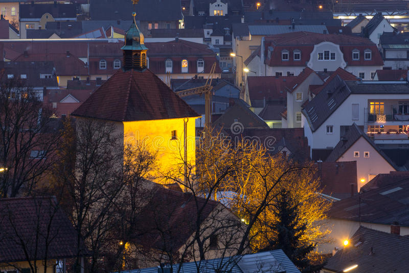 Schwandorf在晚上 库存图片