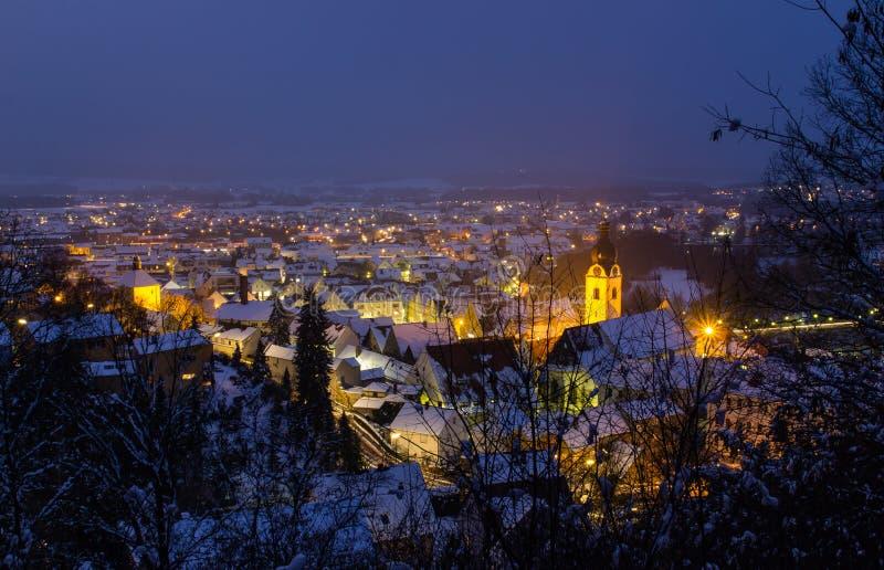 Schwandorf alla notte fotografie stock libere da diritti