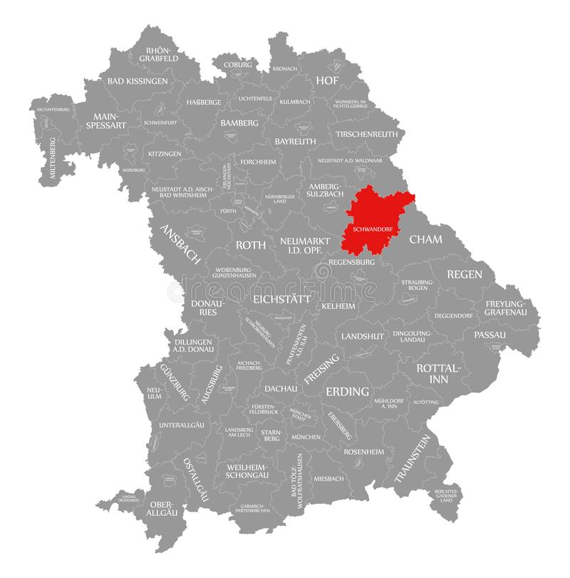 Schwandorf okręgu administracyjnego czerwień podkreślająca w mapie Bavaria Niemcy royalty ilustracja