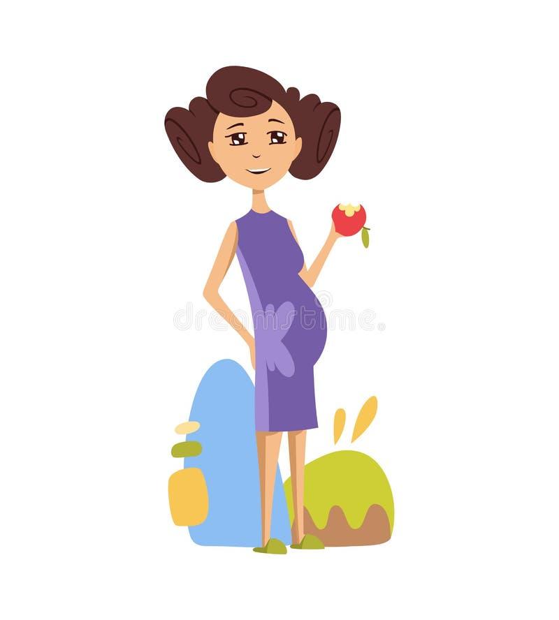 Schwangere Frau, die einen Apfel in einem purpurroten Kleid isst lizenzfreie abbildung
