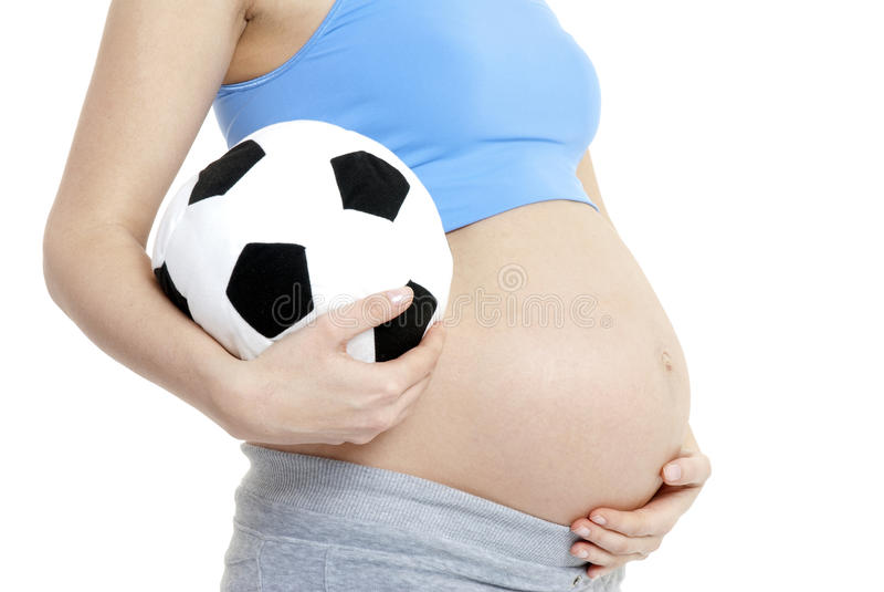 Schwangere Frau, die Jungen erwartet stockfoto