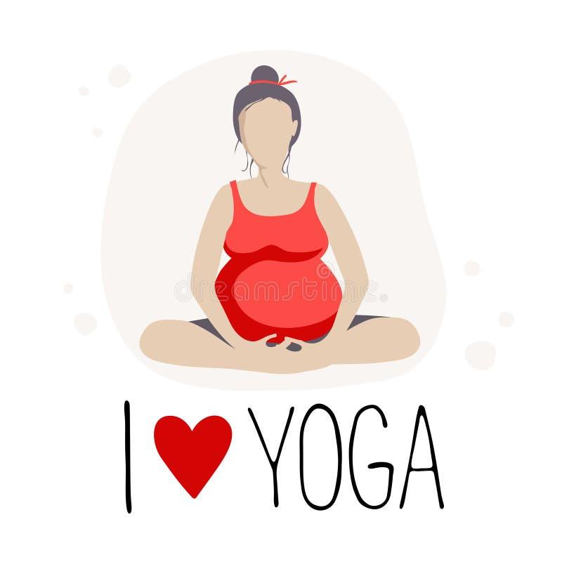 Schwangere Frau, die Yoga tut Batterfly oder Lotos Haltung lizenzfreie abbildung