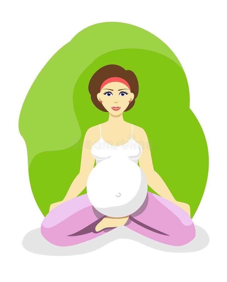 Schwangere Frau, die Yoga tut Yoga für schwangere Frauen im flachen Design vektor abbildung