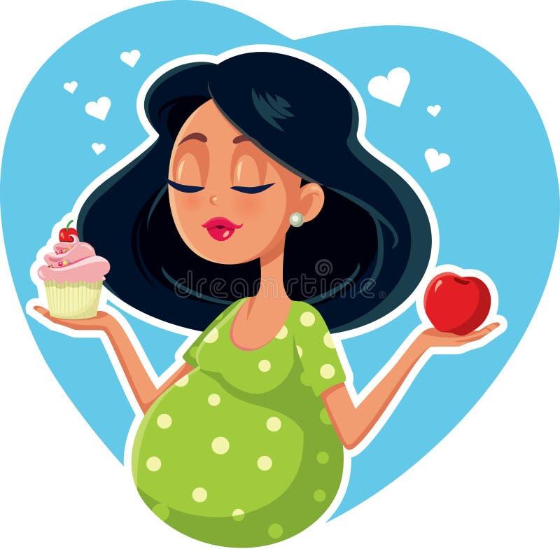 Schwangere Frau, die zwischen Apple und kleinem Kuchen wählt vektor abbildung