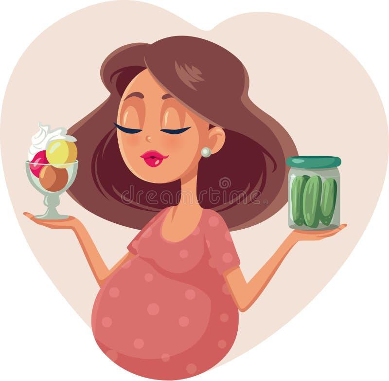 Schwangere Frau, die zwischen Eiscreme und Essiggurken-Karikatur-Illustration wählt stock abbildung