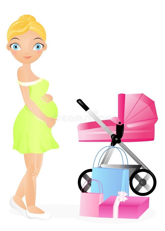 Schwangere Frau: Einkaufen. stock abbildung