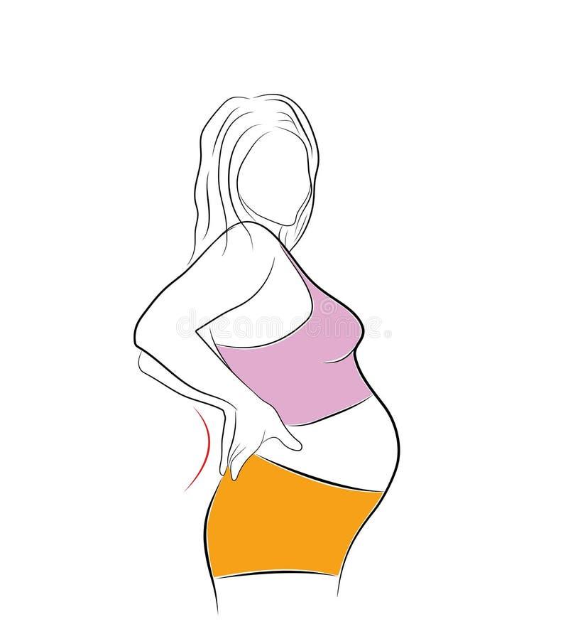 Schwangere Frau Last auf der Rückseite und dem Dorn Baskatche Auch im corel abgehobenen Betrag stock abbildung