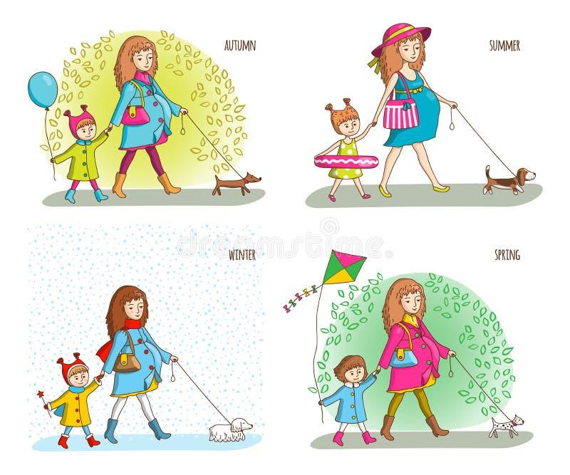 Schwangere Frau, Mädchen und Hund stock abbildung