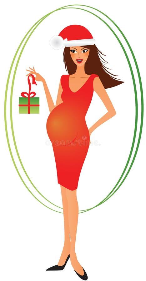 Schwangere Frau mit einem Weihnachtsgeschenk lizenzfreie abbildung
