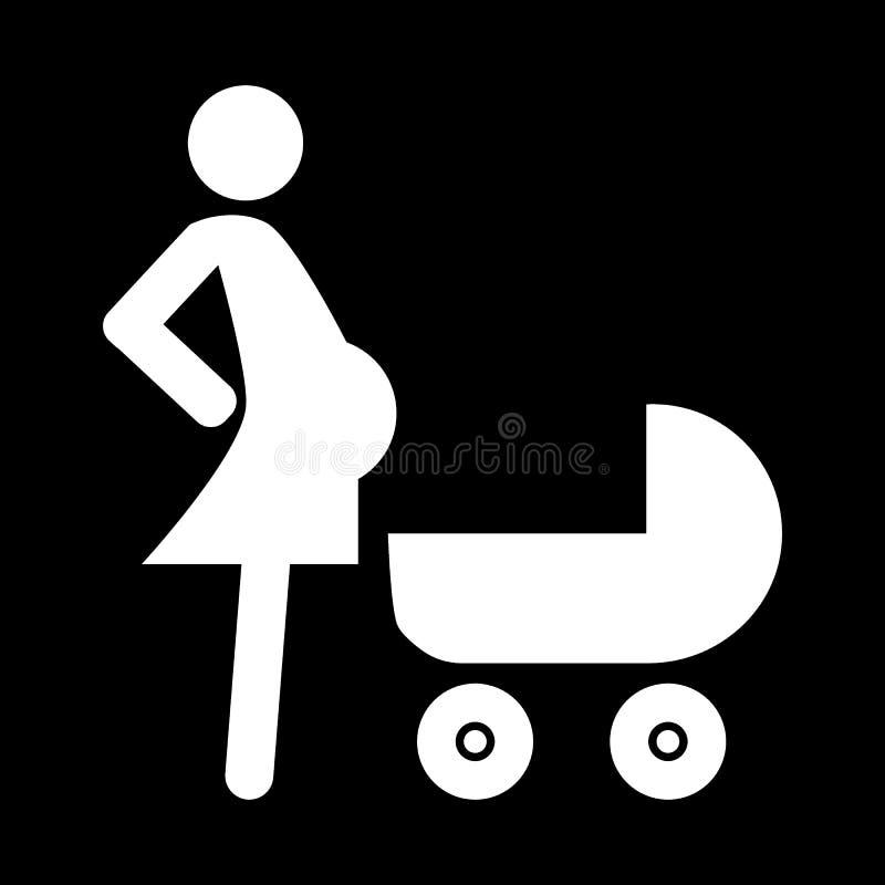 Schwangere Frau mit einer Kinderwagenk?rperikone Vektorillustration lokalisiert auf Schwarzem Glyphartdesign, entworfen f?r vektor abbildung