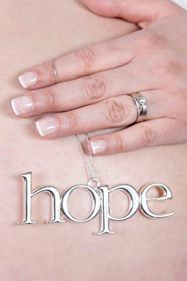 Schwangere Frau mit Hoffnungcharme stockfoto