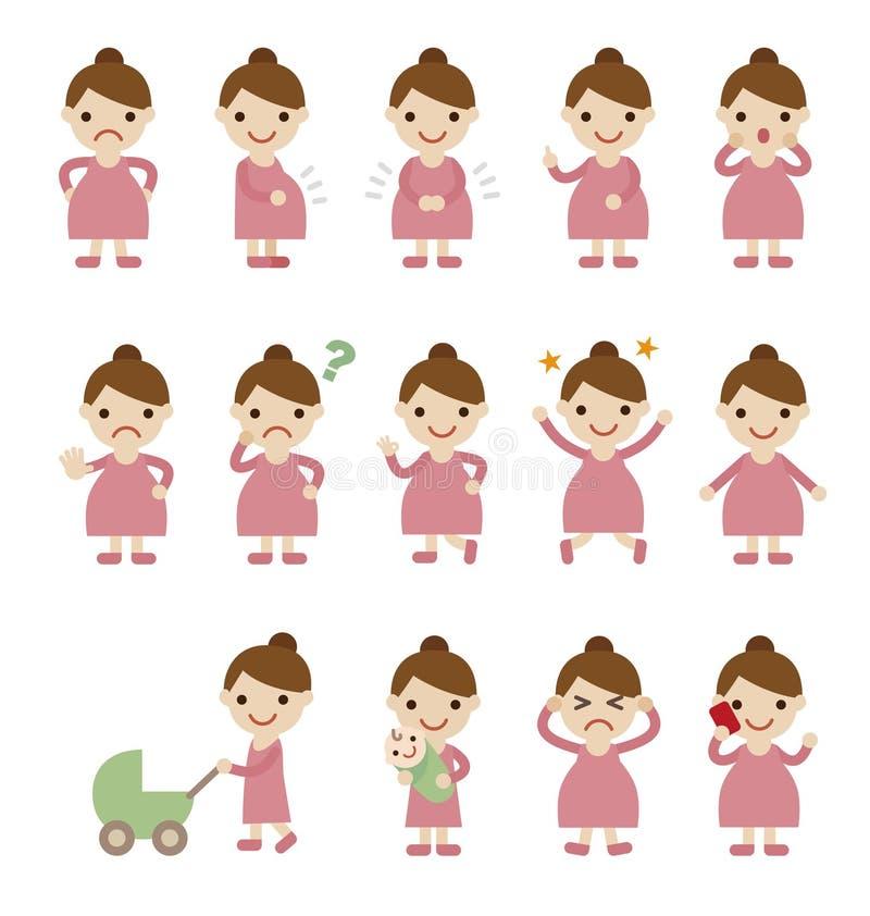 Schwangere Frau mit verschiedenen Haltungen und Gesichtsausdruck vektor abbildung