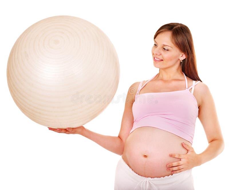 Schwangere Frau sport. stockfotos