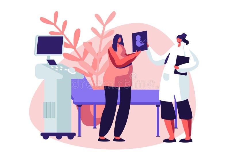 Schwangere Frau in Ultraschall-Kabinett-aufpassendem Baby-Bild Doktor Show Fetus Image der weiblichen Figur zur zukünftigen Mutte lizenzfreie abbildung