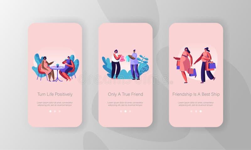 Schwangere Frauen, die bewegliche App-Seite an Bord des Schirm-Satzes, Mädchen-Charakter-Schwangerschaft, Treffen im Café, Einkau vektor abbildung