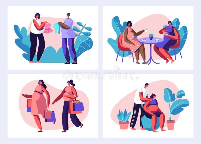 Schwangere Frauen-Freizeit-Satz Einkaufen, Besuchscafé, Eignung mit Ehemann, Erziehnungs-Klassen, kaufende Sachen für Baby lizenzfreie abbildung