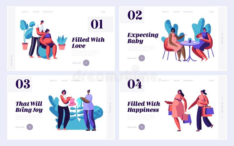 Schwangere Frauen-Freizeit-Website-Landungs-Seiten-Schablonen-Satz Einkaufen, Besuchscafé, Eignung mit Ehemann, kaufende Sachen f lizenzfreie abbildung