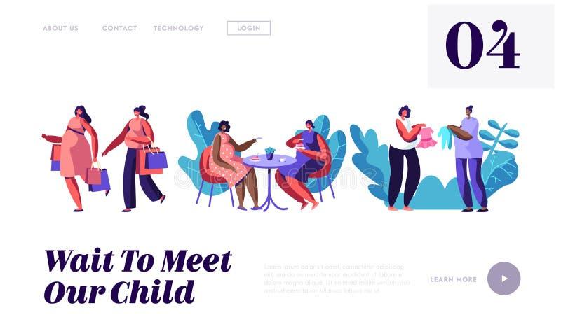 Schwangere Frauen wenden das Zeit-zusammen gehende Einkaufen, Besuchscafé auf und kaufen die Kleidung für Baby und treffen Freund lizenzfreie abbildung