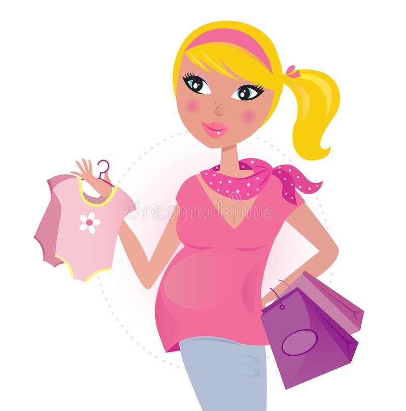 Schwangere Mamma auf dem Einkauf für Kind/Baby stock abbildung