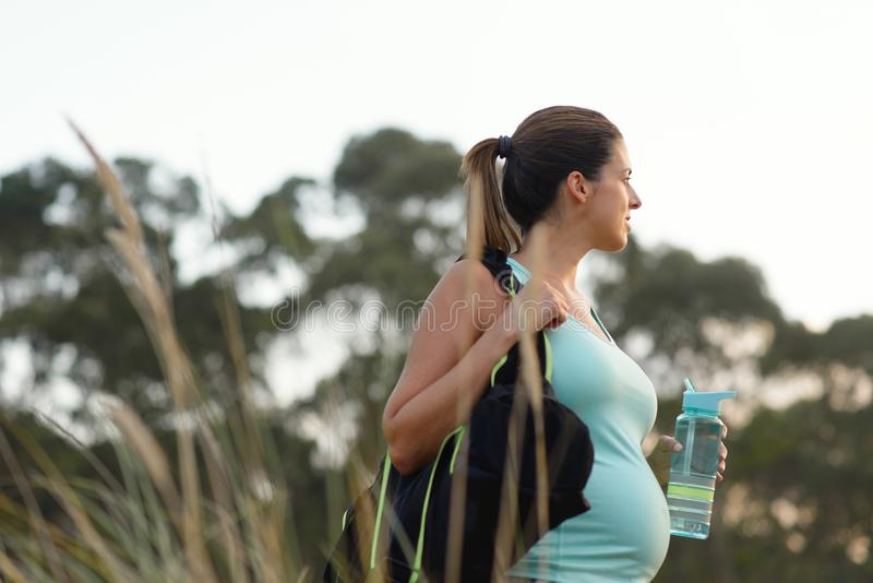 Schwangere motivierte Frau auf der im Freien gesundem Training Eignung stockfoto