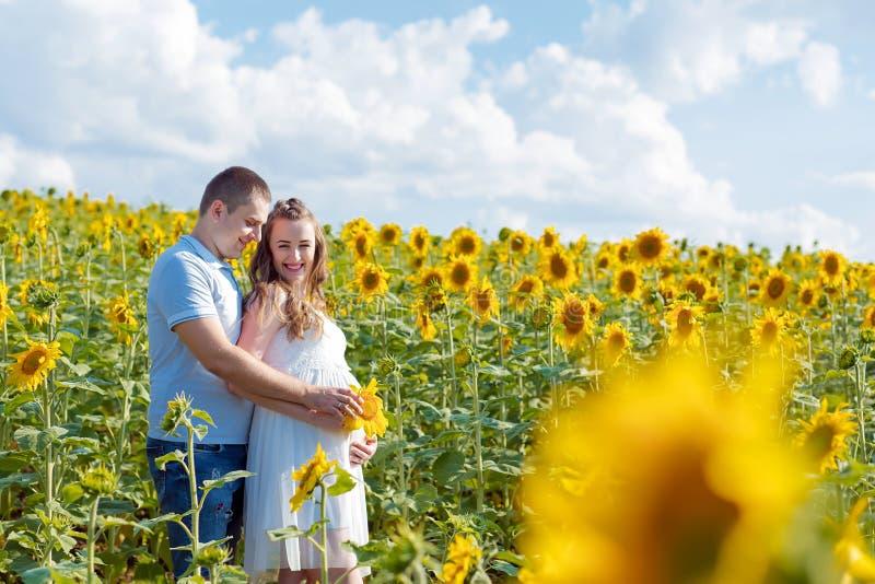 Schwangere Paare, die auf ihr Baby auf einem Gebiet warten, in dem Leute Sonnenblumen an einem hellen sonnigen Tag anbauen Authen lizenzfreies stockfoto