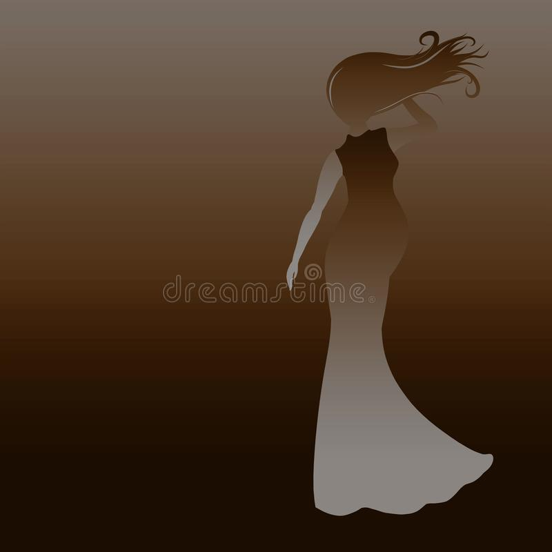 Schwangere schöne Dame auf einem braunen Hintergrund, Schattenbild stock abbildung
