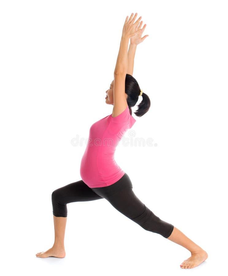 Schwangere Yogahaltung lizenzfreies stockfoto