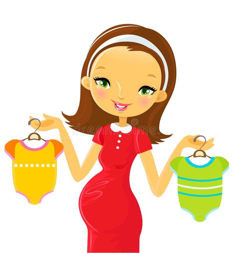 Schwangerschaft: Einkauf lizenzfreie abbildung