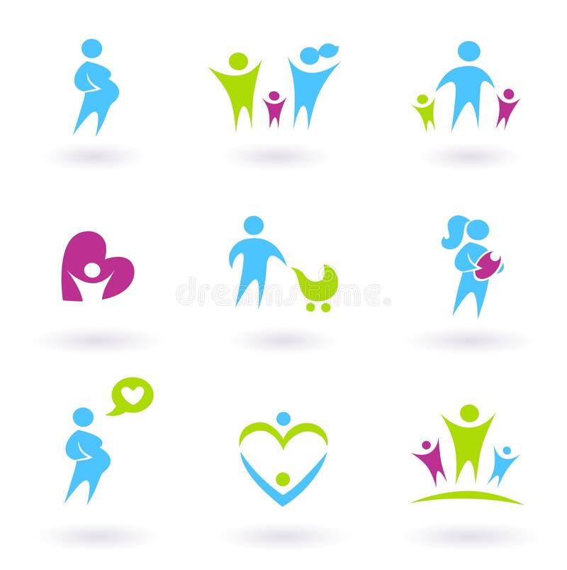 Schwangerschaft-, Familien- und Elternschaftikonen. vektor abbildung