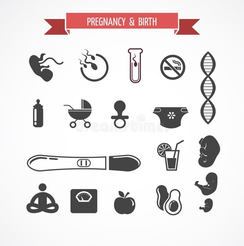 Schwangerschaft und Geburt, Ikonensatz vektor abbildung