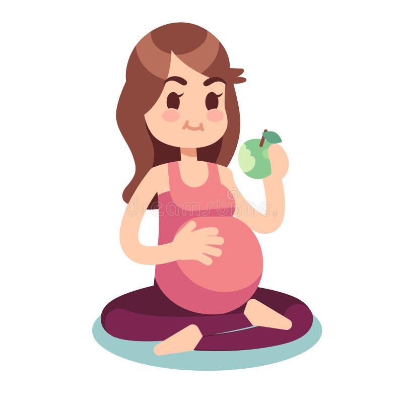 Schwangerschaftsdiätkonzept Schwangerer Essenapfel in der Lotoshaltung Gesundes Lebensmittel und Eignungslebensstilvektorillustra vektor abbildung